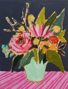 """Lulie Wallace is based in Charleston, South Carolina where she works from her space at Redux Contemporary Art Center. """"floral compositions and has painted dozens and dozens of variations on the classic theme"""" Great for sharing with students a loser way to paint a still life of flowers 'representational'"""