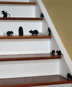 fun halloween mice stair decal