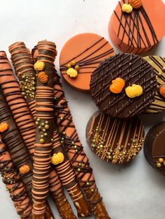 We can ship these soon and we are still taking Thanksgiving orders! This listing is for (12) Chocolate Covered Oreos with a pumpkins and gold accents. They are handcrafted with non toxic, edible gold paint and customized to make your event even more special! These are hand