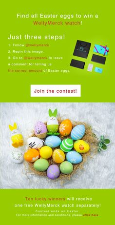 Find all Easter eggs to win a WellyMerck watch! Tips: Some Easter eggs look like bunnies, please find them.
