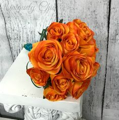 Bridesmaid bouquet- Orange silk rose wedding bouquet, Orange rose tropical bouquet, Bridal bouquet, Orange rose beach wedding by UniquelyChicWeddings on Etsy