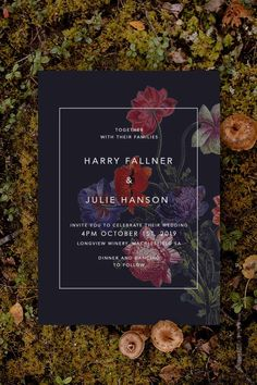 Stunning moody floral Wedding Invitation by Sail and Swan Studio. The design features dark moody colours and deep florals in shades of crimson, burgundy, purple and black.