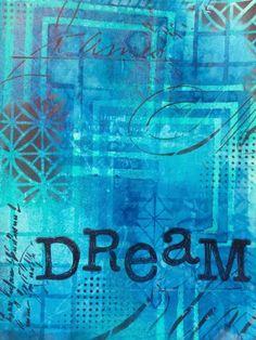 Dreaming in Blue - art journal - Marjie Kemper