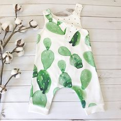 Organic Baby Harem Romper - Cacti; Summer Romper, Baby Boy, Baby girl, Unisex, Cactus Romper, Organic Baby Clothes, going home outfit