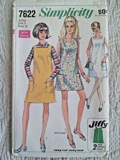 Vintage Misses Jiffy A Line Shift Dress or Jumper Sewing Simplicity Sewing Patterns, Vintage Sewing Patterns, Shirt Hacks, Miss Dress, Retro Pattern, Top Stitching, Dress Patterns, Jumper, 1960s