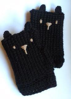 Mitones de gatitos a crochet (guantes sin dedos)