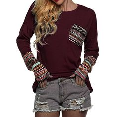 96aa75bd182 US $8.98 16% OFF Cropped Feminino 2019 Spring Women's Patchwork Casual  Loose T shirts Autumn Ladies Long Sleeve Crewneck Pocket Tee Tops #YL-in T- Shirts ...