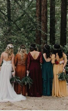Top 9 Fall Wedding Color Schemes for bridesmaid dresses of emera. : Top 9 Fall Wedding Color Schemes for bridesmaid dresses of emerald green, orange and burgundy, woodland weddings for September and October and November Fall Wedding Bridesmaids, Fall Wedding Dresses, Boho Wedding, Wedding Ideas, Woodland Wedding Dress, Dream Wedding, Rainbow Bridesmaids, Perfect Wedding, Fall Wedding Attire