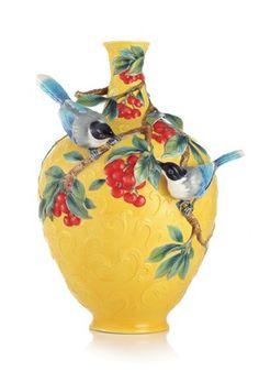 Franz Porcelain Double Happiness Magpies Vase