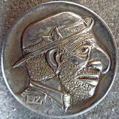 Keith Pedersen Hobo Nickel, Us Coins, Outsider Art, Cartoon Art, Sculpture Art, Carving, Buffalo, Folk, Money