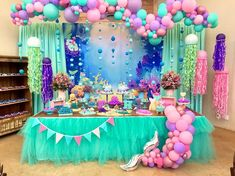 fish first birthday Girl Birthday Decorations, Mermaid Party Decorations, Mermaid Parties, Mermaid Theme Birthday, Little Mermaid Birthday, Bubble Guppies Birthday, 2nd Birthday Parties, Birthday Balloons, First Birthdays
