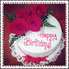 Happy Birthday Colorful Flower Cake With Your Name Print
