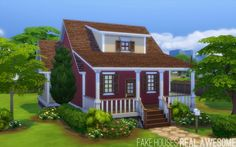 Little Red Bungalow at Fake Houses Real Awesome via Sims 4 Updates