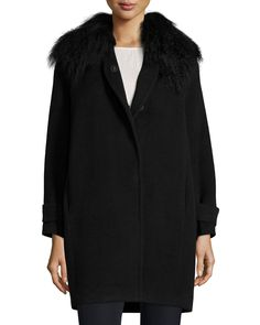 Fur-Trim Wool Coat, Black, Size: 4 - Rebecca Taylor