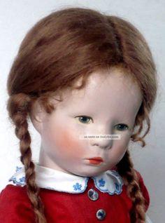 Käthe Kruse Puppe Stoffkopf Mädel Kurze Hinterkopfnaht 35cm 1949/50 Restauriert Käthe Kruse Bild