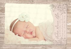 Printable Blush Pink & Ivory Vintage Floral Flower Baby Girl Photo Birth Announcement - 4x6 or 5x7, JPG or PDF