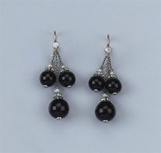A PAIR OF ONYX, DIAMOND AND CULTURED PEARL EARRINGS