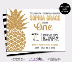 Pineapple Birthday Invitation Hawaiian Luau by ZoeyBlueDesigns
