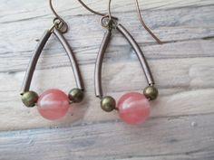 Pink Watermelon Tourmaline  Brass Copper Earrings Boho Summer Earrings  Dangle Hoop  Earrings Jewelry by MillyLillyDesigns on Etsy