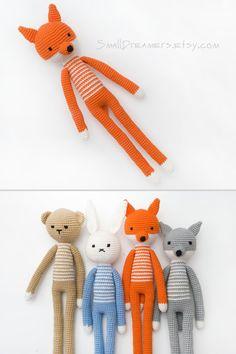 Crochet Fox Toy Woodland animal Soft cotton toy for kids Plush stuffed animal…