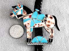 Native American Bolo Horse Turquoise Inlay Sterling Silver Zuni Lincoln Zunie | eBay