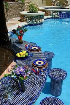Mosaic Swimming Pool with swim up bar. if i ever have a pool at my home it will have a swim up bar to eat and drink Amazing Swimming Pools, Swimming Pool Designs, Cool Pools, Pool Bar, Bar Piscina, Outdoor Pool, Outdoor Decor, Outdoor Living, Backyard Pool Landscaping