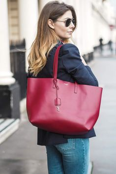 Navy Blazer, red Saint Laurent YSL tote shopper bag