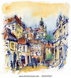 Watercolor Houses Church cities - Google Search