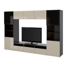 BESTÅ TV storage combination/glass doors - black-brown/Selsviken high gloss/beige smoked glass, drawer runner, push-open - IKEA