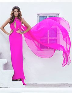 Neon Pink Silk dress, custom Neon Pink Key Hole dress with Cape.. For Custom Orders contact Paul at edelascasas@aol.com