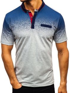 Men Henley Neck Shirt Short Sleeve Button Up Gradient Print Casual Splice Top Blouse Gray) Mens Hottest Fashion, Mens Fashion, Short Sleeve Button Up, Short Sleeves, Polo Shirt, Men's Polo, T Shirt, Camisa Polo, Dress With Boots