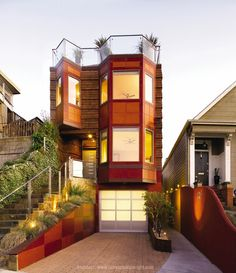 San Francisco row house, Avante Collection # modern with frosted glass panels and solid aluminum along the bottom row.