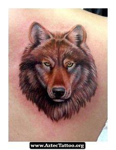 Aztec Wolf Tattoo Designs 09 - http://aztectattoo.org/aztec-wolf-tattoo-designs-09/