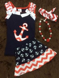 Red Chevron Navy Anchor Skirt Set