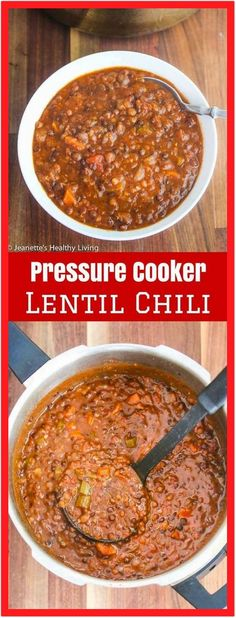 Pressure Cooker/Instant Pot Lentil Chili Pressure Cooker Lentil Chili – 300 grams protein per serving ~ lentils take just 14 minutes to cook in a pressure cooker – this vegetarian/vegan chili is deliciously hearty ~ jeanetteshealthyl… - Delicio Lentil Chili Recipe, Chili Recipes, Slow Cooker Recipes, Pressure Cooker Recipes Vegetarian, Vegetarian Recipes Instant Pot, Instapot Vegetarian Recipes, Crockpot Meals, Orange Lentil Recipes, Best Lentil Recipes