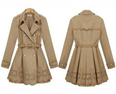 Lace beige trench coat-Bow Belt included    Dressholic - Clothing on ArtFire