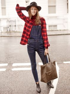 madewell skinny overalls worn with the flannel cargo worksheet, madewell & biltmore® fedora, billie boot + zip transport tote.