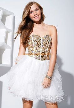 Terani - Gold and white cocktail dress. Love the volume and boning on the bodice! Very fun and flirty! Prom Dress 2013, Cheap Homecoming Dresses, Prom Dress Stores, Prom Dress Shopping, Strapless Dress Formal, Dresses 2013, Prom Gowns, Evening Gowns, Terani Dresses