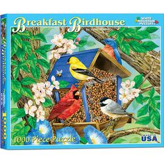 """Breakfast Bird House 1000 Piece Puzzle: Among apple blossoms and morning glories, a cardinal and other colorful birds share a meal. Artwork by Jane Maday. This 1000-piece jigsaw puzzle measures 24"""" x 30"""" when complete.  $14.99  http://www.calendars.com/Bird-Art/Breakfast-Bird-House-1000-Piece-Puzzle/prod201200008906/?categoryId=cat00177=cat00177#"""