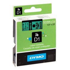 Dymo S0720590 / 45019 tape zwart op groen 12 mm  |  Origineel Dymo S0720590 / 45019 tape zwart op groen voor Dymo beletteringsystemen. De 45019 is zelfklevende en duurzame polyestertape die geschikt is voor de meeste toepassingen. Deze D1 standaard tape heeft een breedte van 12 mm en een lengte van 7 meter.