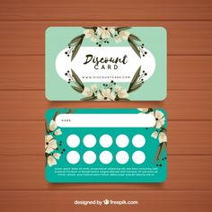 Plantilla de tarjeta de fidelidad con concepto floral Salon Business Cards, Hairstylist Business Cards, Business Card Design, Loyalty Card Design, Cafe Menu Design, Home Beauty Salon, Member Card, Coffee Cards, Make Up Art