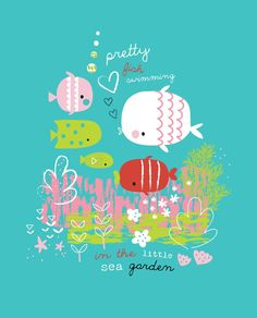 Lizzie Mackay ~ Pretty Fish Swimming in the Little Sea Garden Pretty Fish, Cute Fish, Pattern Illustration, Children's Book Illustration, Baby Posters, Cute Doodles, Baby Art, Kids Prints, Fish Art