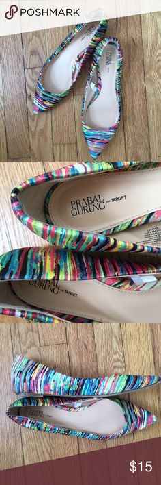 Prabal Gurung for Target Multicolored Pointed Toes Multicolored pointed toe flats with a satin-like shine. Worn only 3 times. Selling because there was not enough support for long days on my feet. Prabal Gurung for Target Shoes Flats & Loafers