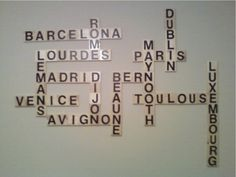 City Scrabble Wall Art.  I decided to use places I have travelled because I already had postcards up in the room.