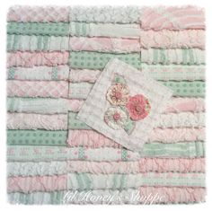 """Chenille fabric quilt squares 42-6"""" blocks, soft pink & green, very shabby chic, vintage bedspread fabric by lilhoneysshoppe on Etsy"""