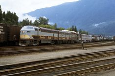 """The Late Roy Jennings caught a then """"everyday consist"""" at Revelstoke lead by C-Liner Canadian Pacific Railway, Train Engines, Train Journey, Train Car, Locomotive, Places To Go, The Unit, Jazz Age, Diesel"""