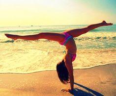 beach handstand split