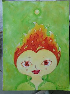 Fire Girl Acrylic on paper 8 x 11