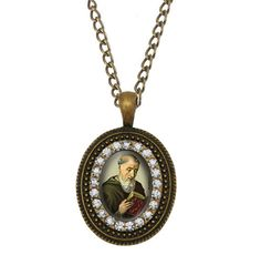 St Benedict of Nursia Religious Necklace. Patron Saint Catholic Antique Bronze Pendant. Catholic Christian Medal.