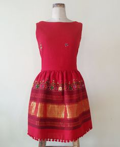 Red Hand Woven and Hand Embroidered Woolen Kutch Rabari Shawl Dress